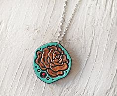 Rose Leather Necklace  Turquoise and Chocolate by MesaDreams