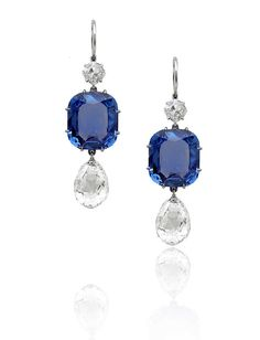 Platinum, Sapphire and Diamond earrings // Stephen Russell Collection