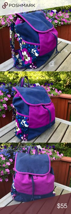 """NWOT Vera Bradley backpack New without tags. No rips, holes or stains. Very pretty and vibrant colors. Backpack has one large pocket and one small interior pocket. Has a drawstring closet and a snap button flap. Great for school or every day use. Has a 32.75"""" adjustable straps Vera Bradley Bags Backpacks"""