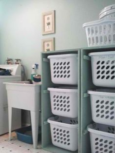 Good idea for the laundry room, but use as sorting baskets for colors. Have family members sort into the baskets when bringing in dirty clothes. Then when a basket is full, it's time to load into the washing machine!