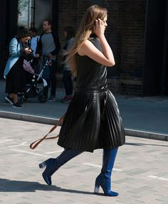 street-style-midi-leather-dress-blue-boots