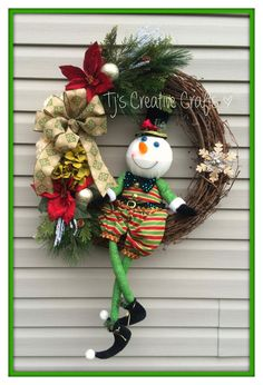 Free Shipping X-Large Snowman Wreath with by TjsCreativeCrafts