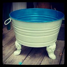 Repurposed galvanized tub made into a planter Repurposed Items, Repurposed Furniture, Painted Furniture, Diy Furniture, Recycled Tires, Furniture Design, Recycled Home Decor, Automotive Furniture, Refinished Furniture