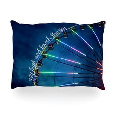 """Beth Engel """"Fly High And Touch The Sky"""" Navy Blue Oblong Pillow"""