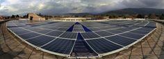 Visuale 180° dei pannelli fotovoltaici installati sulla struttura OmniaBlok di OmniaStrutture
