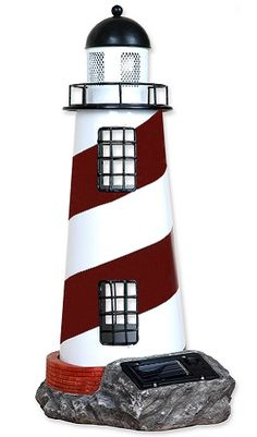 Accent - Red and White Solar Lighthouse at GardenHouseFlags