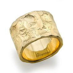 A very unique and elegant ring made from 14k yellow gold. I got the inspiration for this ring from the shape of mortar. This ring has unique texture with a combination of matte gold. Suitable for both genders. Weight:11.68 grams Width:0.56 inch (14.5mm). Thickness:0.075 inch(1.91mm). -The Gispan logo On the Inside Of The Ring Is For Display Only. Size – Choose from Size Menu Box Above Please note: for sizes above 10, please contact me for price quote and custom listing. ----------------...