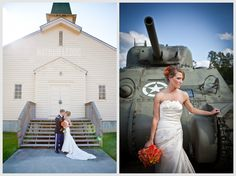 National Infantry Museum Wedding, Columbus, GA  scouting out museums for ceremony & reception sites is the perfect way to create a memorable wedding, & to incorporate something you're passionate about (i.e. art) museums can also make for striking visuals like this elegant bride with the tank or a dinosaur skeleton at the natural history museum, etc. Museums often have unique architechture that you can enhance with minimal flowers, etc. saving money