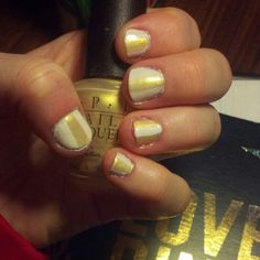 My gold & white striped Mani. So easy