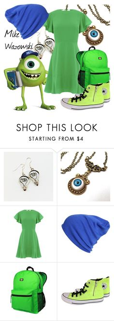 """""""Mike Wazowski (A Disney-Inspired Outfit)"""" by one-little-spark ❤ liked on Polyvore featuring Warehouse, Dickies, Converse, disney and disneybound"""