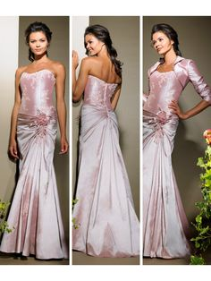 Sheath Floor Length Strapless Taffeta Mother of the Bride Dresses Evening / Prom / Formal / Wedding Guest  Dresses With A Jacket 1301012