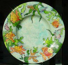 Extra large pottery ceramic plate customised personlised fish sea aquarium