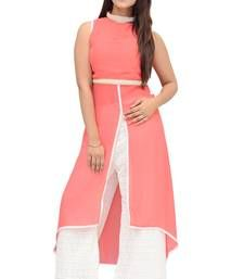 Buy Carrot Pink hand woven Chiffon kurtis party-wear-kurti online