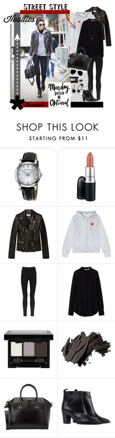 """Kendall does Hoodies"" by mkanzee ❤ liked on Polyvore featuring moda, Nicki Minaj, Burberry, MAC Cosmetics, Yves Saint Laurent, Play Comme des Garçons, Paige Denim, Uniqlo, NYX y Bobbi Brown Cosmetics"