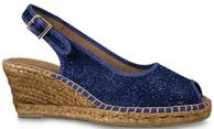 Lisa Kay Espadrille Clarice/1 is a Sparkly mesh detail espadrille with a peeptoe and an adjustable slingback.     Clarice/1 is a great summer sandal that can be dressed up with a nice summer dress for evening wear too.     Heel - 6.5cm to 2cm.