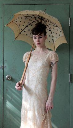 Antique 20s Lace Dress  Ecru  Flapper Wedding Gown  by VeraVague