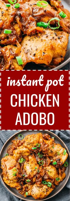 Instant Pot Chicken Adobo is an authentic recipe that represents easy to make, quick, simple, and traditional Filipino comfort food. #chicken #instantpot #keto It's great for healthy diets like keto, low carb, gluten free, and adjustable for paleo & whole 30. I use boneless chicken thighs but you can use drumsticks, and I include vegetables like onions. Other ingredients for the sauce are bay leaves, garlic, white vinegar or apple cider vinegar, and a bit of cayenne for a spicy taste.