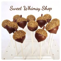 12 Acorn Cake Pops with Gold Sugar Crystal Caps by SweetWhimsyShop