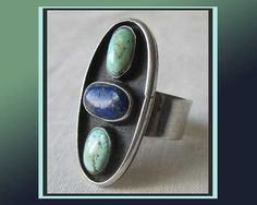 Navajo BEAUTY--Large Lapis/Turquoise Sterling Silver Ring, Nice Patina,Men/WomenVintage Jewelry,Christmas Gift,Men/Unisex