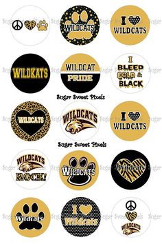 INSTANT DOWNLOAD Gold Wildcats    School Mascot by sugarnspicebow, $1.80