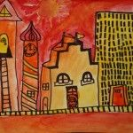 learning warm and cool colors with warm/cool cityscapes art project