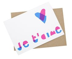 Yellow Owl Workshop  Je T'aime Screen Printed Card