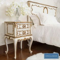 Buy the beautifully designed Palais Royal Ivory & Gold Bedside Table, by The French Bedroom Company. Shop 24 hours a day for Effortless Luxury Online. White Bedroom Furniture, French Furniture, Table Furniture, Dresser Table, Furniture Dolly, Furniture Market, Blue Bedroom, Retro Furniture, Furniture Stores