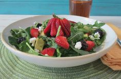 Strawberry and Avocado Salad with Strawberry Balsamic Dressing - This Spring Salad is made with Superfood and perfect for your Sunday Dinner!
