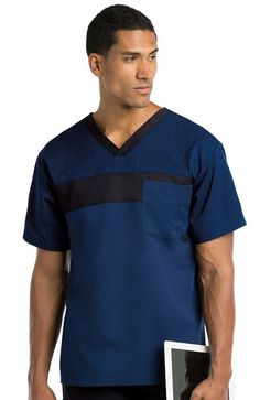 Grey's Anatomy Active 0117 Men's Color Block Top IHB S: v-neck color block with pen slot, mixed media top with hatch printed panels. Greys Anatomy Men, Greys Anatomy Scrubs, Grey's Anatomy, Dental Scrubs, Medical Scrubs, Scrubs Outfit, Scrubs Uniform, Nursing Jackets, Doctor Scrubs