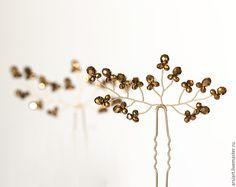 Купить Золотая свадьба, Шпильки для волос, Аксессуары для свадьбы, Золотые - золотой, для волос, винтаж, украшение