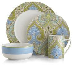 Latika Seafoam 4-piece place setting modern dinnerware