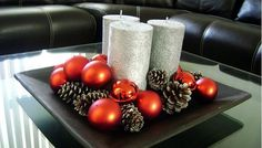 centros de mesa navideños con esferas - Buscar con Google