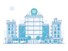 City Analytics designed by Nick Slater. Building Illustration, City Illustration, Simple Illustration, Digital Illustration, Line Design, Icon Design, Flat Design, App Design, Building Drawing