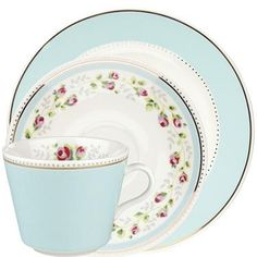 This pretty trio set in our Tea Rose Stripe print contains a tea up, saucer and side plate, and makes a lovely gift. Our new Tea Rose Stripe tableware is a beautiful range of dishwasher safe fine china with a delicate gold band.