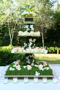 Wheatgrass wedding cupcake tower