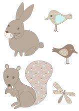 Sticker lapin écureuil