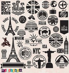 INSTANT DOWNLOAD Abstract Stamp Travel around the World Design Element Digital ClipArt Cards Scrapbook Magnet Postcard S647 Buy 1 Get 1 Free...