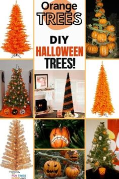 Orange trees make great DIY Halloween trees! See all of the fun ways to decorate a regular Christmas tree with Halloween decorations OR spray paint a green artificial Christmas tree orange OR buy an orange Halloween tree and decorate it the way you like! Photos and videos showing lots of fun ways to make your own DIY Halloween Trees -- both indoor and outdoor Halloween trees -- using all sorts of fun shapes and Halloween decorations. #halloween #homedecor