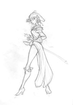 Living Lines Library: Treasure Planet - Character Design. Captain Amelia is the best. Disney Sketches, Disney Drawings, Art Drawings, Disney Concept Art, Disney Fan Art, Disney Style, Character Design Animation, Character Drawing, Disney Animation