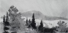 Artist research due Philip Koch; less focus on perfection; simplicity of trees and mountain, all space filled up Project 3, Realistic Drawings, Mountain, Trees, Landscape, Space, Artist, Painting, Floor Space
