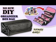 Sew a cosmetics bag with brush roll Diy Makeup Bag Tutorial, Diy Pouch Tutorial, Makeup Bag Tutorials, Cosmetic Bag Tutorial, Diy Makeup Bag No Sew, Diy Crafts Makeup, Diy Crafts Tv, Diy Makeup Storage, Storage Ideas