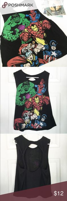The Avengers Muscle Tee  The Avengers Muscle Tee by Marvel   Genuine marvel comics product   Features the comic illustrations of the Hulk, Spider-Man, Iron Man, Captain America and Thor    Had large arm holes    Loose fitting   Had twisted back straps   Size Small    Keywords: Muscle tank top, muscle shirt, workout shirts, geeky, geek, comic shirts, geek clothing, cool fun workout shirts, workout clothes, Avengers, fangirl Marvel Tops Muscle Tees