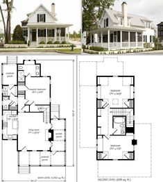 Sugarberry Cottage, Southern Living House Plan #1648 ~ Small 34' x 57' footprint, one & half story, 1679sf, 3 bdrm, 2.5 bath. Open floor plan combines living room with fireplace, dining area, & kitchen with center island. Master suite downstairs. Wraparound porch with a screened-in area. *No attached garage.