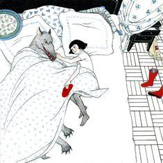 Red Riding Hood Story, Red Riding Hood Wolf, Little Red Ridding Hood, Wolf Illustration, Graphic Design Illustration, Charles Perrault, Werewolf Art, Fox Girl, Fairytale Art