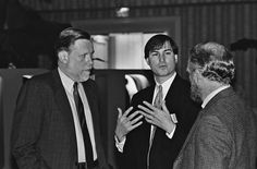 Here's a picture with Steve Jobs and the Adobe founders Chuck Geschke and John Warnock during a conference or a reunion.
