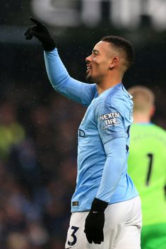 Gabriel Jesus of Manchester City celebrates after scoring his team's second goal during the Premier League match between Manchester City and Everton FC at Etihad Stadium on December 2018 in. Get premium, high resolution news photos at Getty Images Manchester City, Manchester United Kingdom, Manchester England, Gabriel, Zen, Everton Fc, Don Juan, Premier League Matches, Soccer Players