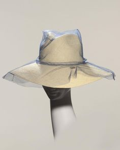'Halston' Spring A fedora in natural straw overlaid with denim tulle. Caroline Reboux, Stephen Jones, Wide Brimmed Hats, Millinery Hats, Headpieces, Scarfs, Caps Hats, Panama, Bucket Hat