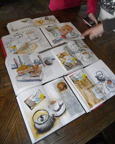 Vignetten des Lebens: Out Cafe Sketching . Thumbnails des Lebens: Out Cafe Sketching Today! Voyage Sketchbook, Travel Sketchbook, Arte Sketchbook, Sketchbook Pages, Sketch Journal, Artist Journal, Art Journal Pages, Art Journals, Journal Layout