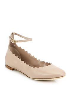 Chloé - Scalloped Leather Ankle-Strap Flats