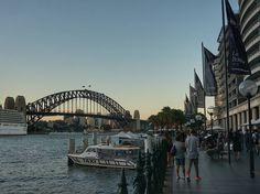 サーキュラーキーから眺めるハーバーブリッジ  オペラハウスまで続く遊歩道にオープンテラスのレストランがびっしり  #circularquay #sydneyharbourbridge #sydney by jun_sz29 http://ift.tt/1NRMbNv